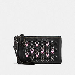 TURNLOCK WRISTLET 21 WITH SNAKESKIN COACH LINK - F59253 - BLACK/PINK/BLACK COPPER