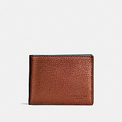 COACH F59275 Slim Billfold Wallet RUST METALLIC