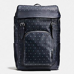 HENRY BACKPACK IN STAR DOT PRINT LEATHER - f59306 - MIDNIGHT NAVY/BLUE STAR DOT