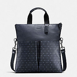 CHARLES FOLDOVER TOTE IN STAR DOT PRINT LEATHER - f59309 - MIDNIGHT NAVY/BLUE STAR DOT