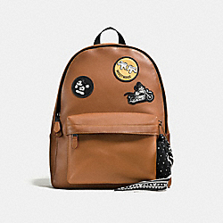 CHARLES BACKPACK IN PATCHWORK LEATHER WITH MICKEY - f59313 - SADDLE