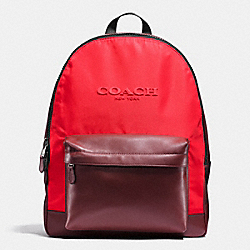 COACH F59321 Charles Backpack In Nylon BRICK RED/BRIGHT RED