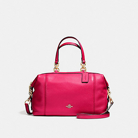 COACH f59325 LENOX SATCHEL IN PEBBLE LEATHER IMITATION GOLD/BRIGHT PINK