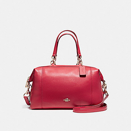 COACH f59325 LENOX SATCHEL IN PEBBLE LEATHER LIGHT GOLD/TRUE RED