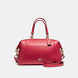 LENOX SATCHEL IN PEBBLE LEATHER - f59325 - LIGHT GOLD/TRUE RED