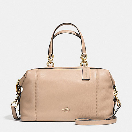 COACH f59325 LENOX SATCHEL IN PEBBLE LEATHER IMITATION GOLD/BEECHWOOD