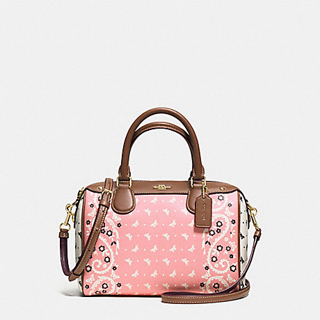 COACH f59328 MINI BENNETT SATCHEL IN BUTTERFLY BANDANA PRINT COATED CANVAS IMITATION GOLD/BLUSH CHALK