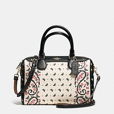 COACH f59328 MINI BENNETT SATCHEL IN BUTTERFLY BANDANA PRINT COATED CANVAS IMITATION GOLD/CHALK/BRIGHT PINK