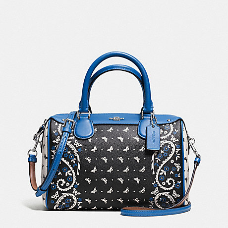COACH f59328 MINI BENNETT SATCHEL IN BUTTERFLY BANDANA PRINT COATED CANVAS SILVER/BLACK LAPIS
