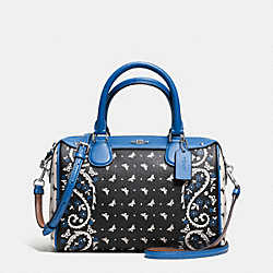 MINI BENNETT SATCHEL IN BUTTERFLY BANDANA PRINT COATED CANVAS - f59328 - SILVER/BLACK LAPIS