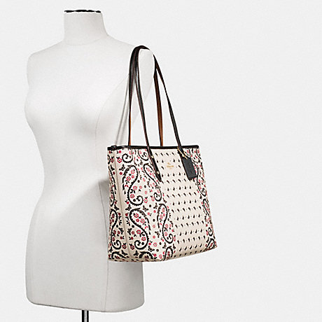 COACH f59329 CITY ZIP TOTE IN BUTTERFLY BANDANA PRINT COATED CANVAS IMITATION GOLD/CHALK/BRIGHT PINK
