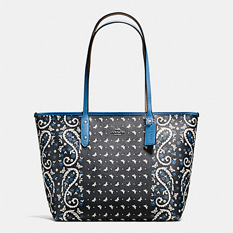 COACH f59329 CITY ZIP TOTE IN BUTTERFLY BANDANA PRINT COATED CANVAS SILVER/BLACK LAPIS