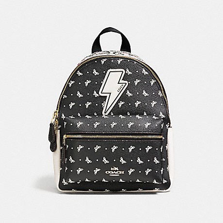 COACH F59330 MINI CHARLIE BACKPACK IN BUTTERFLY BANDANA PRINT COATED CANVAS IMITATION-GOLD/CHALK/BRIGHT-PINK