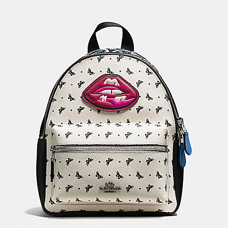 COACH f59330 MINI CHARLIE BACKPACK IN BUTTERFLY BANDANA PRINT COATED CANVAS SILVER/BLACK LAPIS