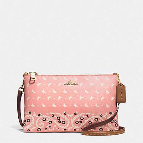 COACH f59332 LYLA CROSSBODY IN BUTTERFLY BANDANA PRINT COATED CANVAS IMITATION GOLD/BLUSH CHALK
