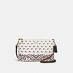 LYLA CROSSBODY IN BUTTERFLY BANDANA PRINT COATED CANVAS - f59332 - IMITATION GOLD/CHALK/BRIGHT PINK