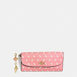 COACH F59334 Boxed Soft Wallet In Butterfly Dot Print Coated Canvas IMITATION GOLD/BLUSH CHALK
