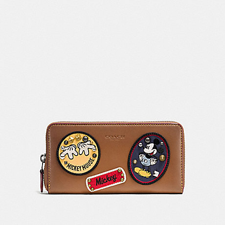 COACH F59340 ACCORDION ZIP WALLET IN GLOVE CALF LEATHER WITH MICKEY PATCHES QB/SADDLE-MULTI