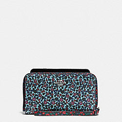 COACH F59342 Phone Wallet In Ranch Floral Print Mix Coated Canvas SILVER/MULTI