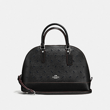 COACH f59344 SIERRA SATCHEL IN PERFORATED CROSSGRAIN LEATHER SILVER/BLACK