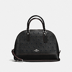 SIERRA SATCHEL IN PERFORATED CROSSGRAIN LEATHER - f59344 - SILVER/BLACK