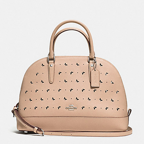 COACH f59344 SIERRA SATCHEL IN PERFORATED CROSSGRAIN LEATHER SILVER/BEECHWOOD