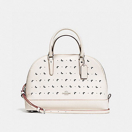 COACH f59344 SIERRA SATCHEL IN PERFORATED CROSSGRAIN LEATHER SILVER/CHALK