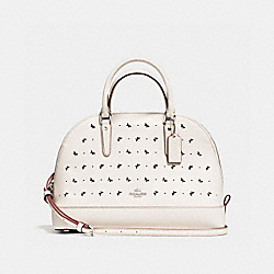 SIERRA SATCHEL IN PERFORATED CROSSGRAIN LEATHER - f59344 - SILVER/CHALK