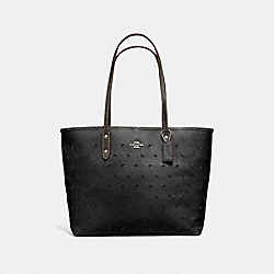 COACH F59345 City Tote In Perforated Crossgrain Leather SILVER/BLACK