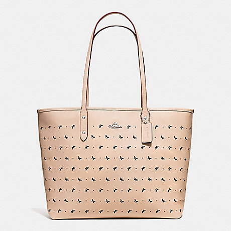 COACH f59345 CITY TOTE IN PERFORATED CROSSGRAIN LEATHER SILVER/BEECHWOOD