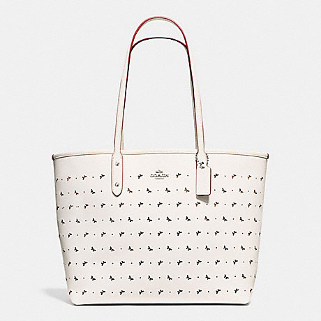 COACH f59345 CITY TOTE IN PERFORATED CROSSGRAIN LEATHER SILVER/CHALK