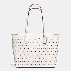 CITY TOTE IN PERFORATED CROSSGRAIN LEATHER - f59345 - SILVER/CHALK