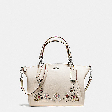 COACH f59348 SMALL KELSEY SATCHEL IN PEBBLE LEATHER WITH STUDDED BORDER EMBELLISHMENT SILVER/CHALK