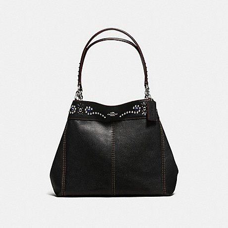 COACH f59349 LEXY SHOULDER BAG IN PEBBLE LEATHER WITH BORDER STUDDED EMBELLISHMENT SILVER/BLACK