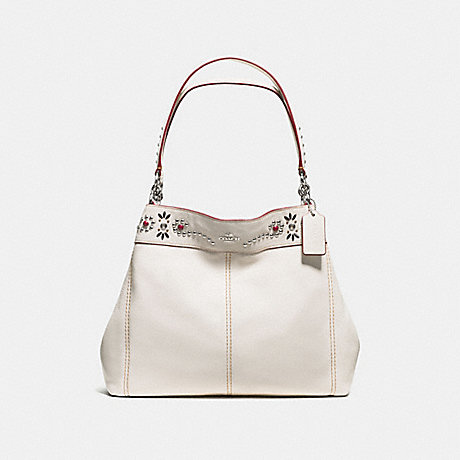 COACH f59349 LEXY SHOULDER BAG IN PEBBLE LEATHER WITH BORDER STUDDED EMBELLISHMENT SILVER/CHALK