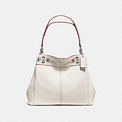 LEXY SHOULDER BAG IN PEBBLE LEATHER WITH BORDER STUDDED EMBELLISHMENT - f59349 - SILVER/CHALK