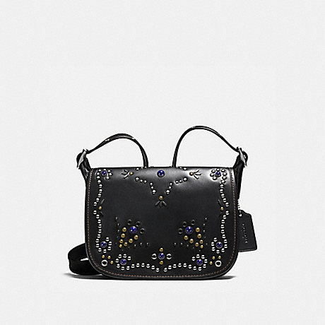 COACH f59351 PATRICIA SADDLE BAG 23 IN NATURAL REFINED LEATHER WITH ALL OVER STUDDED EMBELLISHMENT SILVER/BLACK