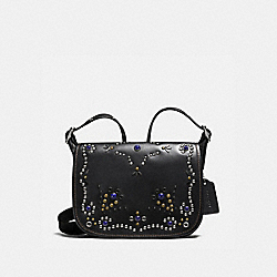 PATRICIA SADDLE BAG 23 IN NATURAL REFINED LEATHER WITH ALL OVER STUDDED EMBELLISHMENT - f59351 - SILVER/BLACK