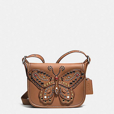 COACH F59353 PATRICIA SADDLE BAG 23 IN GLOVE CALF LEATHER WITH BUTTERFLY STUD SILVER/SADDLE