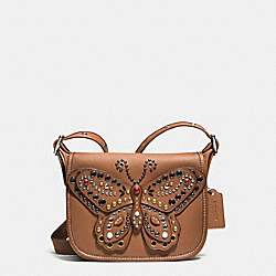 PATRICIA SADDLE BAG 23 IN GLOVE CALF LEATHER WITH BUTTERFLY STUD - f59353 - SILVER/SADDLE