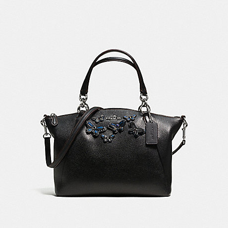 COACH f59354 SMALL KELSEY SATCHEL IN PEBBLE LEATHER WITH BUTTERFLY APPLIQUE SILVER/BLACK
