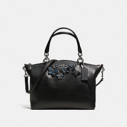 SMALL KELSEY SATCHEL IN PEBBLE LEATHER WITH BUTTERFLY APPLIQUE - f59354 - SILVER/BLACK