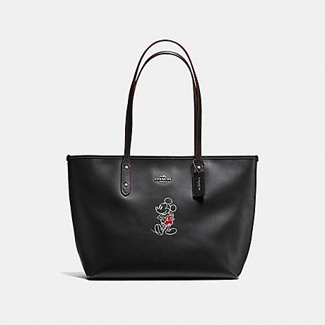COACH f59357 CITY ZIP TOTE IN GLOVE CALF LEATHER WITH MICKEY ANTIQUE NICKEL/BLACK