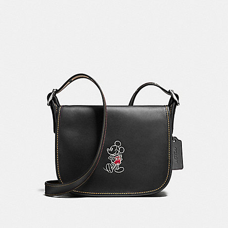 COACH f59359 PATRICIA SADDLE 23 IN GLOVE CALF LEATHER WITH MICKEY ANTIQUE NICKEL/BLACK