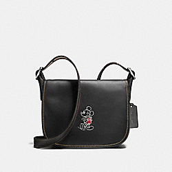 PATRICIA SADDLE 23 IN GLOVE CALF LEATHER WITH MICKEY - f59359 - ANTIQUE NICKEL/BLACK