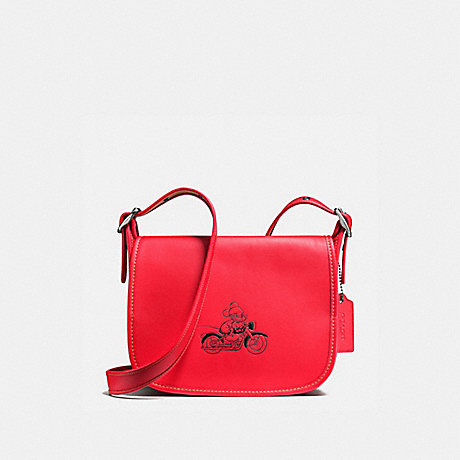 COACH f59359 PATRICIA SADDLE 23 IN GLOVE CALF LEATHER WITH MICKEY BLACK ANTIQUE NICKEL/BRIGHT RED