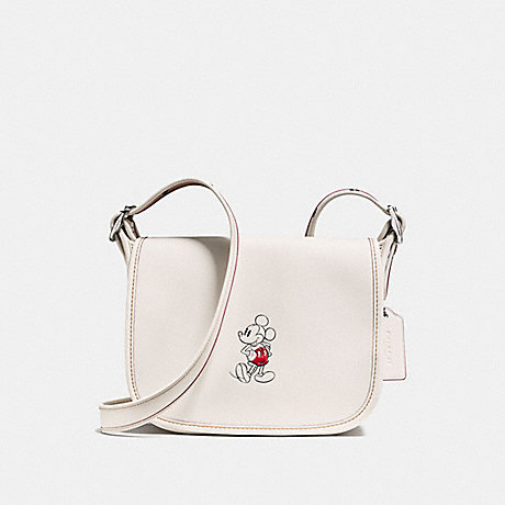 COACH f59359 PATRICIA SADDLE 23 IN GLOVE CALF LEATHER WITH MICKEY BLACK ANTIQUE NICKEL/CHALK