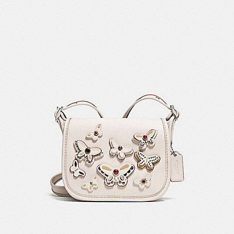 COACH f59360 PATRICIA SADDLE BAG 18 IN NATURAL LEATHER WITH ALL OVER BUTTERFLY APPLIQUE SILVER/CHALK