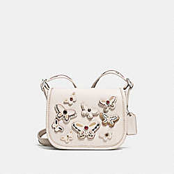 PATRICIA SADDLE BAG 18 IN NATURAL LEATHER WITH ALL OVER BUTTERFLY APPLIQUE - f59360 - SILVER/CHALK