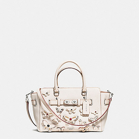 COACH f59361 BLAKE CARRYALL 25 IN PEBBLE LEATHER WITH ALL OVER BUTTERFLY APPLIQUE SILVER/CHALK